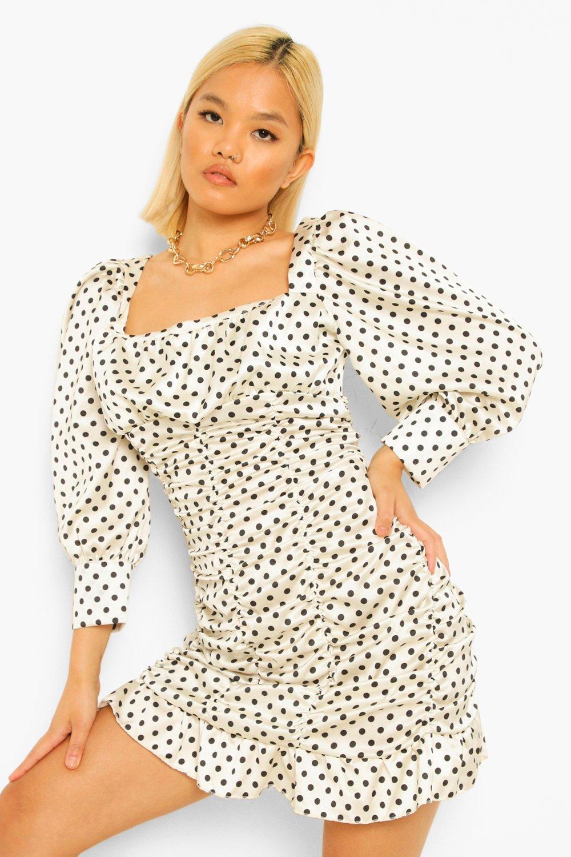 Petite Dresses Petite Polka Dot Satin Ruched Dress