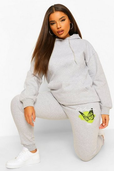 Grey Plus Woman Butterfly Back Hoody Tracksuit
