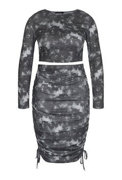Black Plus Tie Dye Ruched Mini Skirt And Top Co-ord