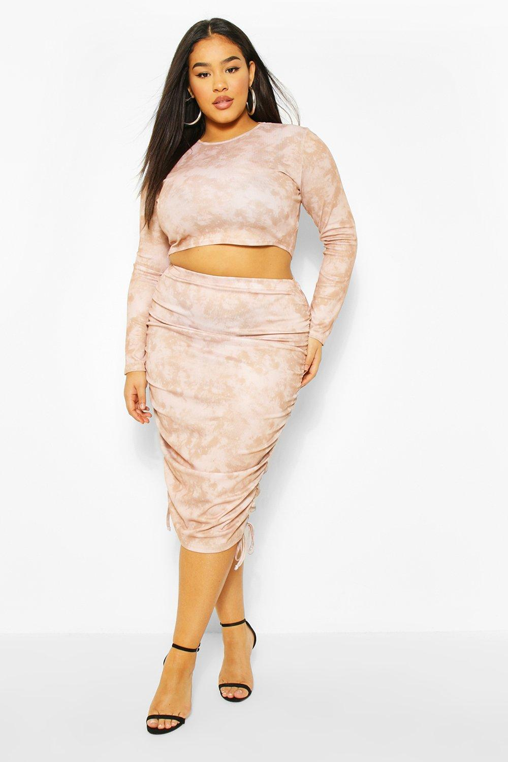 Plus Tie Dye Ruched Mini Skirt And Top Co-ord 15