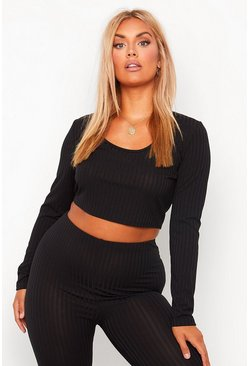 Plus Sculpt Leggings And Long Sleeve Crop Co-Ord, Black negro