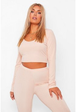 Plus Sculpt Leggings And Long Sleeve Crop Co-Ord, Nude