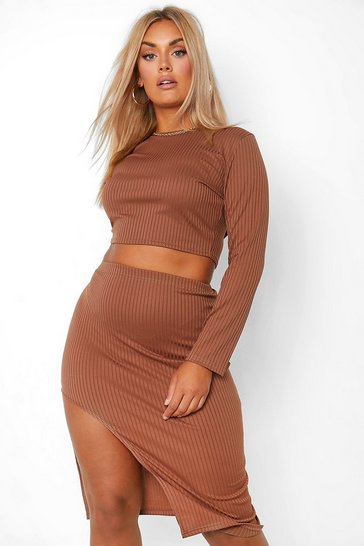 Chocolate brown Plus Rib Long Sleeve Crop And Midi Skirt Co Ord