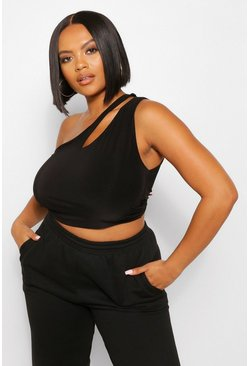 Black Plus Cut Out One Shoulder Crop Top
