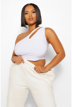 White Plus Cut Out One Shoulder Crop Top