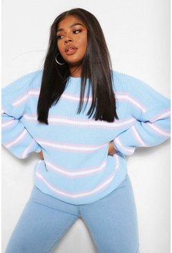 Blue Plus Multi Stripe Oversized Jumper