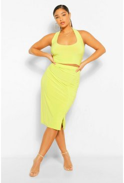 Chartreuse yellow Plus Ruched Side Midi Skirt And Cami Co-Ord
