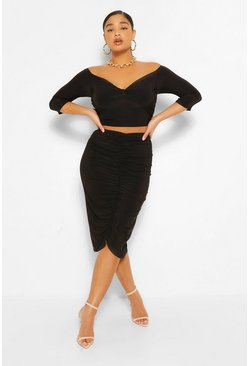Black Plus Twist Front Top and Ruched Midi Skirt