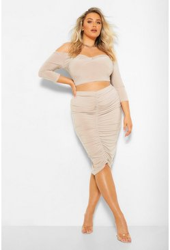 Nude Plus Twist Front Top and Ruched Midi Skirt
