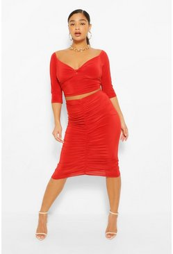 Rust orange Plus Twist Front Top and Ruched Midi Skirt