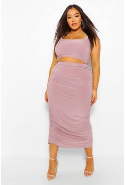 Mauve purple Plus Scoop Neck Top And Ruched Midaxi Co-Ord
