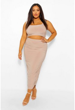 Nude Plus Scoop Neck Top And Ruched Midaxi Co-Ord