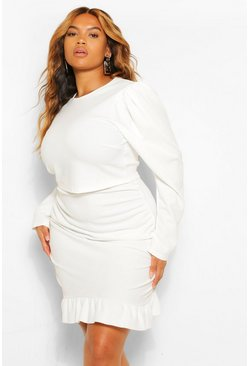 Ivory white Plus Puff Sleeve and Frill Hem Mini Skirt Co-Ord