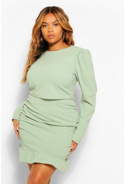 Sage green Plus Puff Sleeve and Frill Hem Mini Skirt Co-Ord