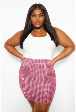 Berry Plus Button Front Mini Skirt
