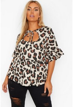 Brown Plus Leopard Tie Front Smock Top