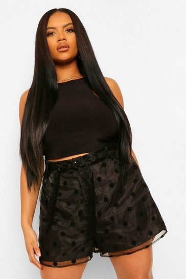 Black Plus Woven Spot Print Belted Short