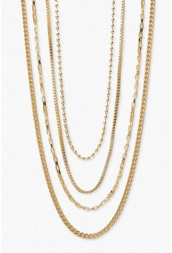 Gold Plus Chain Detail Stacking Choker 4 Pack