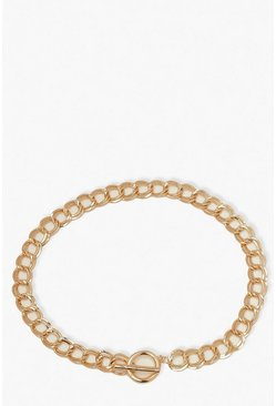 Plus Chunky Chain T-Bar Clasp Necklace, Gold Металлик