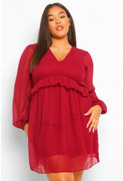 Berry red Plus Dobby Mesh Blouson Sleeve Ruffle Detail Dress