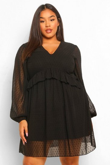 Plus Dobby Mesh Blouson Sleeve Ruffle Detail Dress