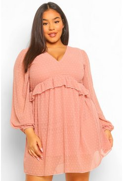 Blush pink Plus Dobby Mesh Blouson Sleeve Ruffle Detail Dress