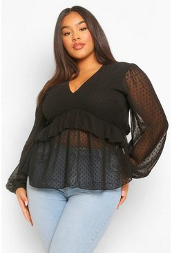 Black Plus Dobby Mesh Blouse Met Shirtmouwen En Ruches