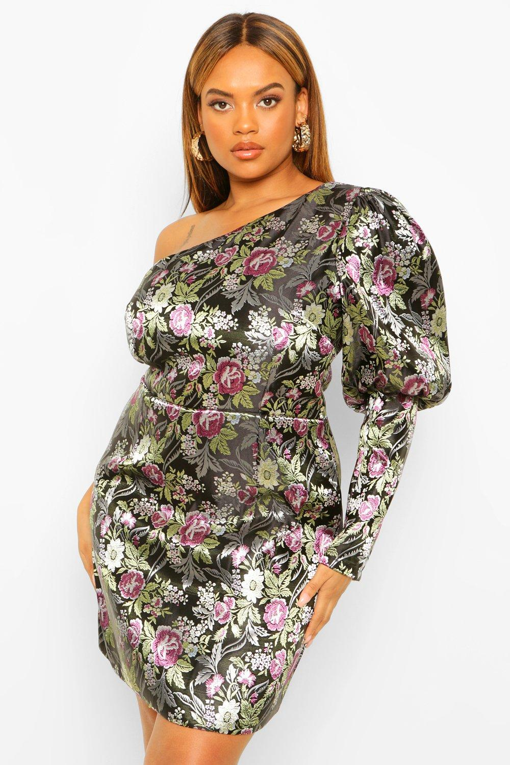 Plus One Shoulder Puff Sleeve Jacquard Dress 15