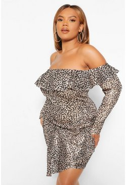 Brown Plus Off The Shoulder Sequin Leopard Mini Dress