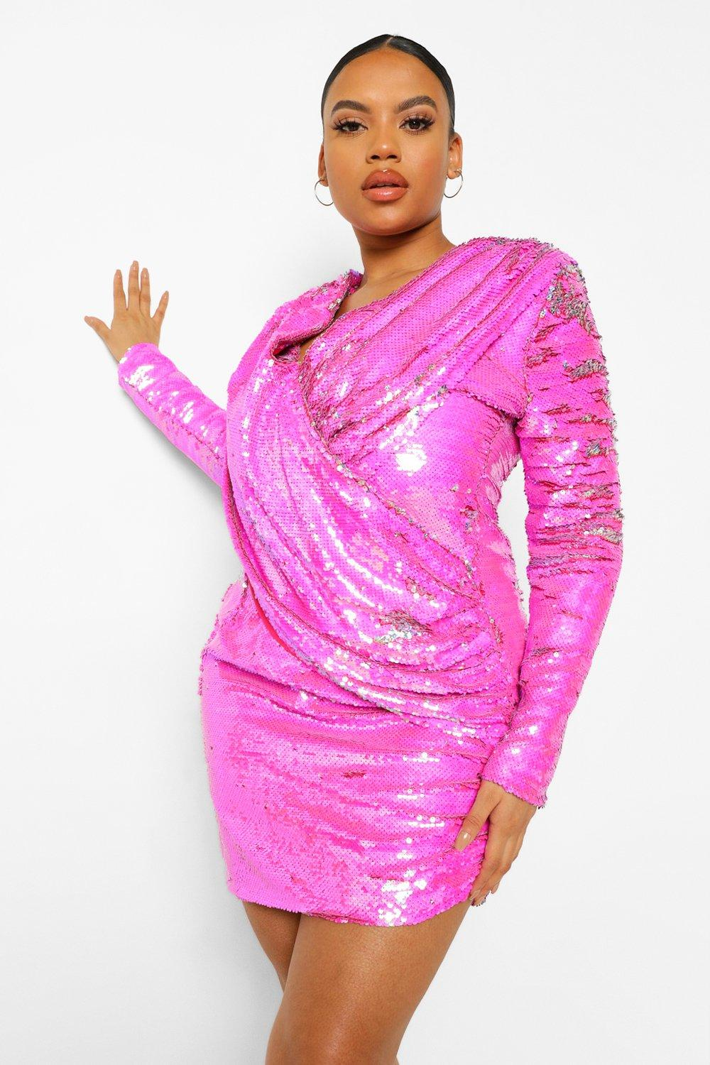 Plus Sequin Draped Long Sleeve Mini Dress 14
