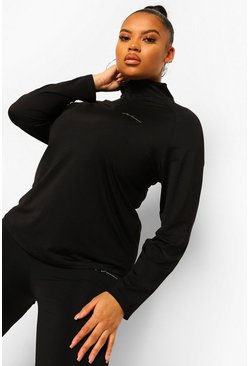 Black Plus Woman Active Raglan Funnel Neck Top