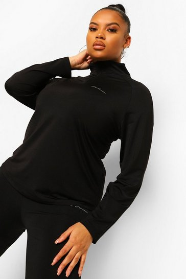 Black Plus Active Raglan Funnel Neck Top