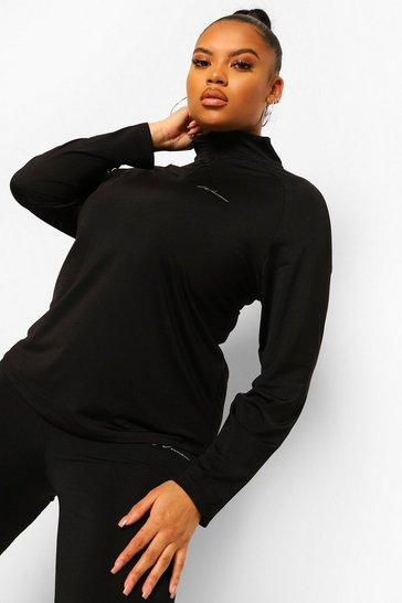 Black Plus Woman Active Raglan Funnel Neck Top
