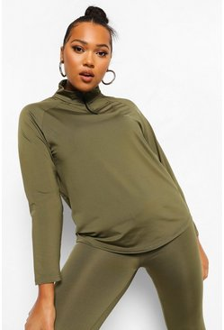 Khaki Plus Woman Active Raglan Funnel Neck Top