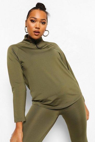 Khaki Green Plus Woman Active Raglan Funnel Neck Top