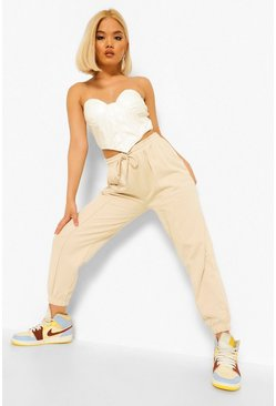 Stone beige Petite Oversized Pintuck Detail Joggers