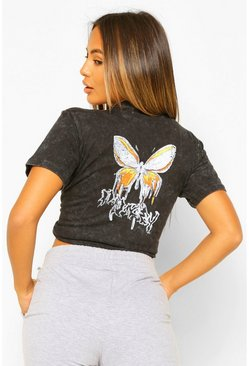 Charcoal grey Petite Acid Wash Butterfly Back Print T-Shirt