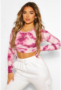 Purple Petite Tie Dye Long Sleeve Rib Ruched Detail Top