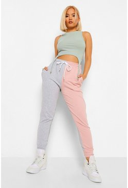 Pink Petite Colour Block Drawcord Detail Joggers