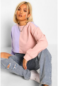 Lilac purple Petite Colour Block Cropped Sweat Shirt