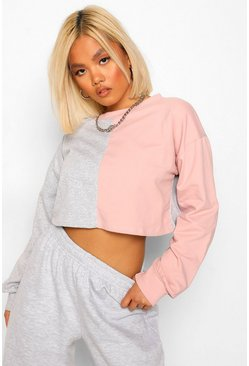 Pink Petite Colour Block Cropped Sweat Shirt