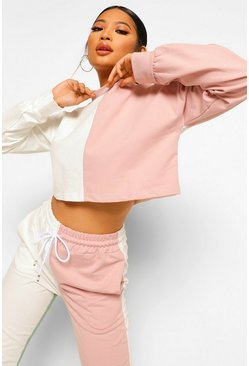 White Petite Colour Block Cropped Sweat Shirt