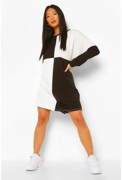 Black Petite Colour Block Sweat Dress