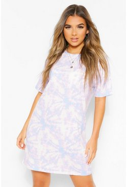 Blue Petite Tie Dye T-Shirt Dress