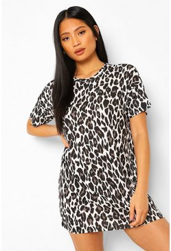 Grey Petite Leopard T-Shirt Dress