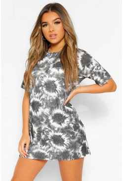 Grey Petite Tie Dye T-Shirt Dress