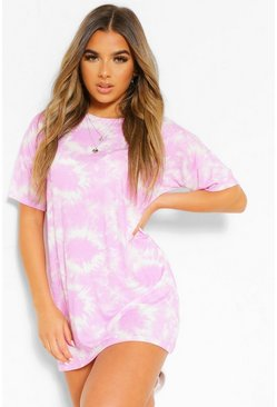 Lilac purple Petite Tie Dye T-Shirt Dress