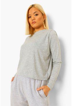 Grey Petite Shoulder Pad Cropped T-Shirt