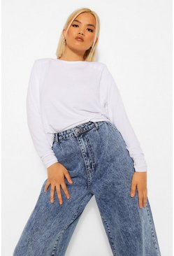 White Petite Shoulder Pad Cropped T-Shirt