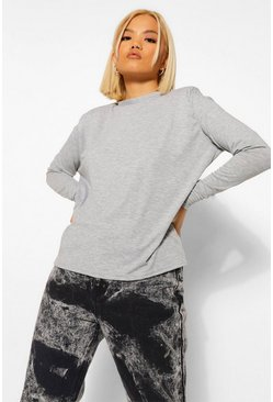 Grey Petite Long Sleeve Shoulder Pad T-Shirt